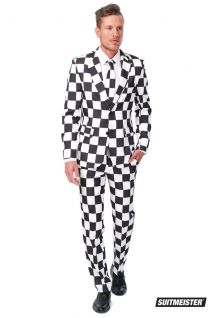 Opposuits Checkered Black and White Suitmeister Fancy Dress Suit