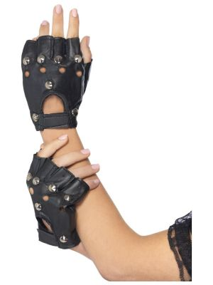 Punk Gloves Black with Studs 22444