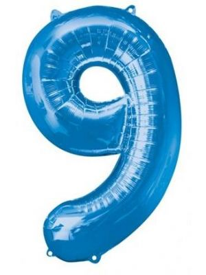 Number 9 Blue Foil Balloon 28297