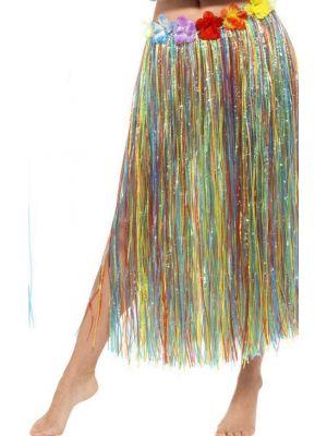 Hawaiian Long Hula Skirt with Flowers 44591