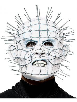 Halloween Horror White Pinhead Mask Latex Adults Fancy Dress Accessory MA004