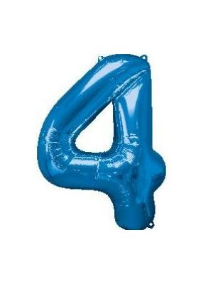 Number 4 Blue Foil Balloon 28282