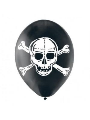 Balloon Black Skull Latex Pack Of 6