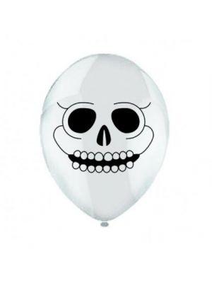 Balloon Skull White Latex Balloon Pack of 6
