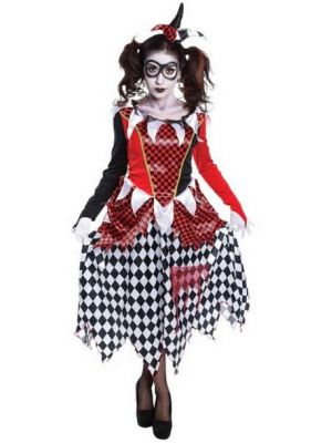 Scary Harlequin Girl Costume  AC698