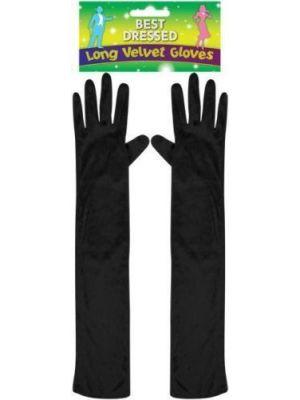 Long Velvet Gloves Black 55cm U09653