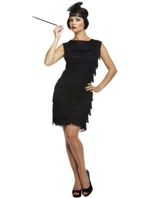 Adult Flapper Ladies 20s Fancy Dress Black Costume U20156