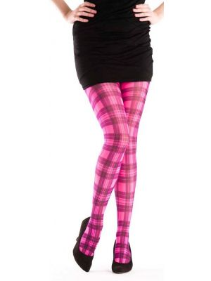 Tartan Printed Tights Flo Pink 5055419608267
