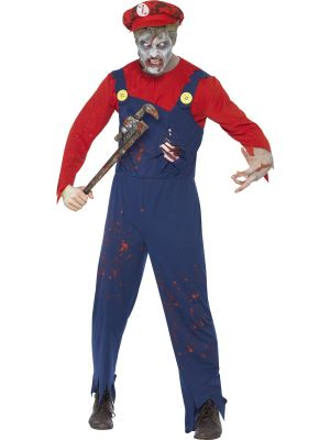 Mario Zombie Plumber Smiffys Fancy Dress Costume Halloween Range