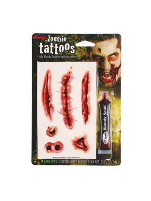 Zombie Tattoos With Bloody Scab - Stitch