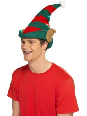 Smiffy's Red & Green Elf Hat with Ears 21469