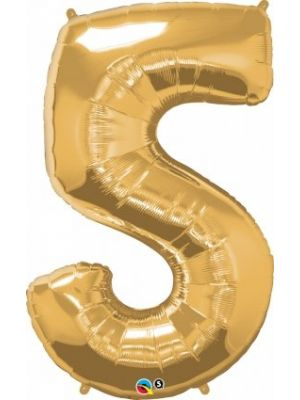 Number 5 Gold Foil Balloon 28252