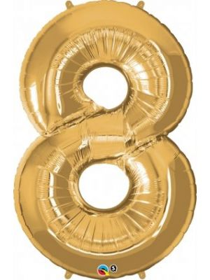 Number 8 Gold Foil Balloon 28258