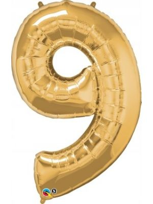 Number 9 Gold Foil Balloon 28260