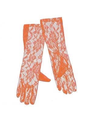 Long Neon Orange Lace Gloves