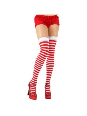 Red and White Thigh Highs
