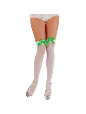 White Thigh Highs with Green Bow