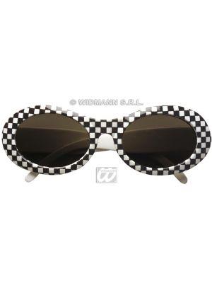 Glasses 60s Chequered Black & White