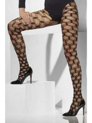 Diamond Net Tights Black Layered 25331
