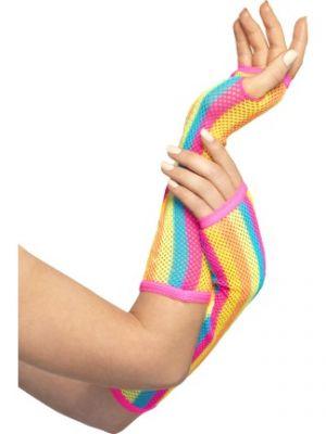 Fishnet Gloves Long Neon Striped 44635