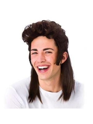 80's Mullet Brown Wig Wicked EW-8104