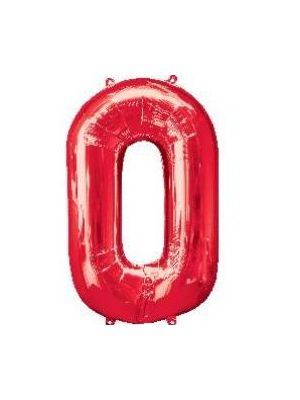 Number 0 Red Foil Balloon 28271