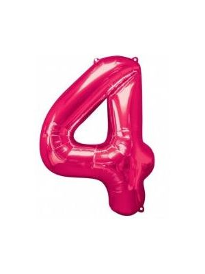 Number 4 Pink Foil Balloon 28284