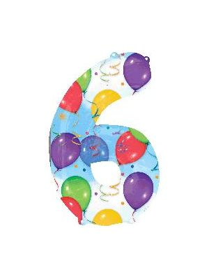 Number 6 Balloons Foil Balloon 28255