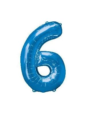 Number 6 Blue Foil Balloon 28288