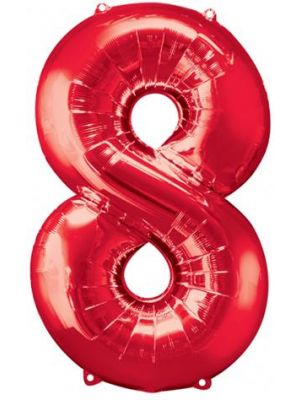 Number 8 Red Foil Balloon 28295