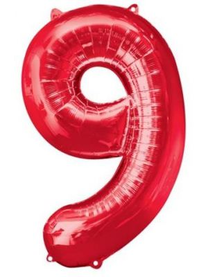 Number 9 Red Foil Balloon 28298