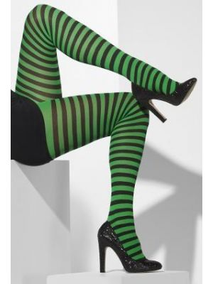 Opaque Tights Green & Black Striped 42722