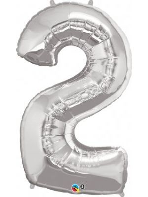 Number 2 Silver Helium Balloon Large Balloon Supplies