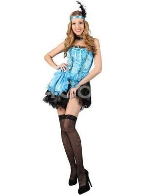 Sexy Saloon Gal Blue Costume  SF-0122