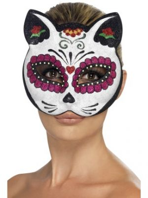 Sugar Skull Cat Eyemask with Glitter 45219