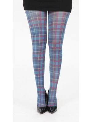 Tartan Printed Tights - Jackson Plaid Petrol Blue