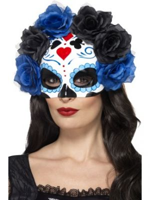 Day of the Dead Blue Eyemask w/ Roses 44640