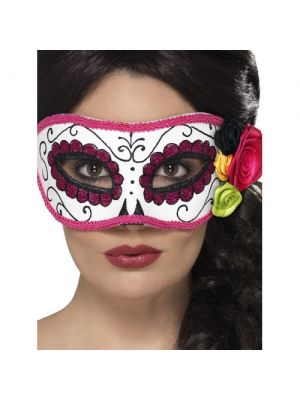 Day of the Dead Eyemask White and Pink 44961
