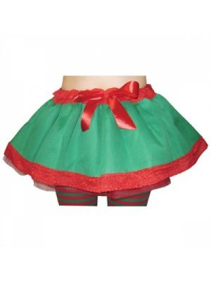 Elf Xmas Tutu Green & Red Skirt TS-7157