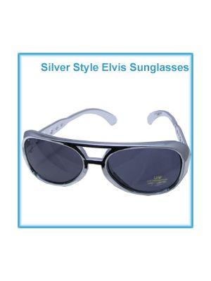 Rock n Roll Glasses Silver Elvis