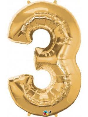 Number 3 Gold Foil Balloon 28248