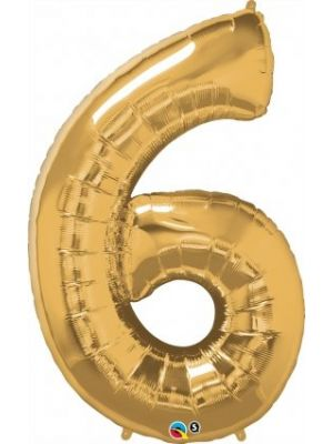Number 6 Gold Foil Balloon 28254