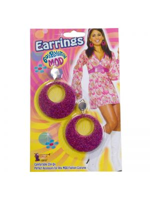 Ladies 60's Themed Mod Glitter Earings