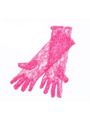 Long Neon Pink Lace Gloves